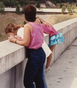 Me in the 80s, blue skirt and pink shirt