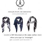Wear Juma Scarves in the Winter for a far away warm
