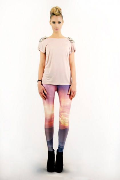 Laotian Sunset Leggings by Lovely Sally Front View