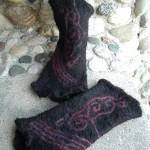 Dark and Elegant Felted Alpaca Wristwarmer Cuffs